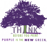 Think before you print, Purple is the new green