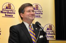 William Ruud after being introduced as UNI's 10th president