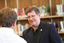 UNI President Bill Ruud and his wife, Judy meet faculty, staff and students at a meet and greet on June 11, 2013